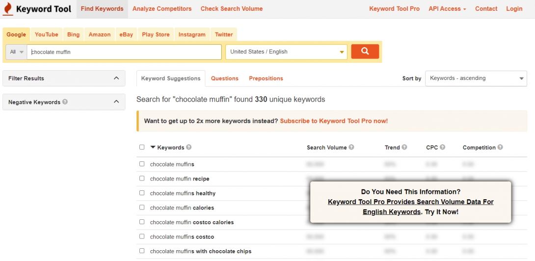 Using keyword tool to find LSI keywords