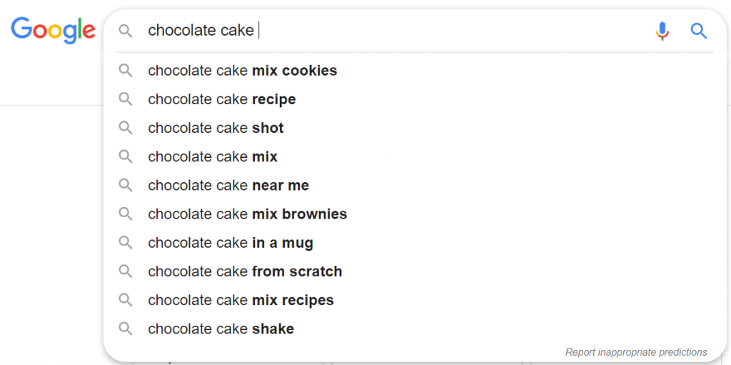 Autocomplete at the end of the query.