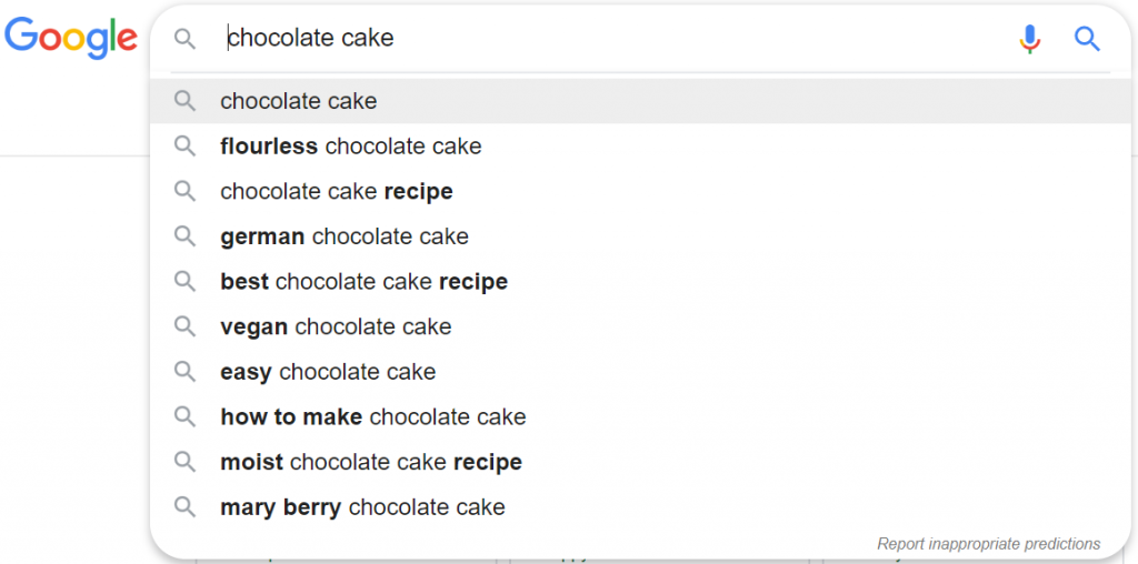 Autocomplete at the front of the query.