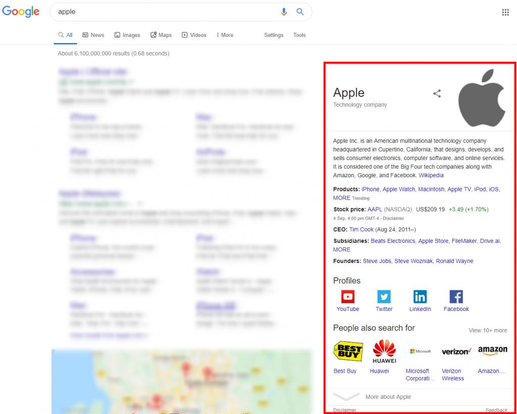 google knowledge graph - apple