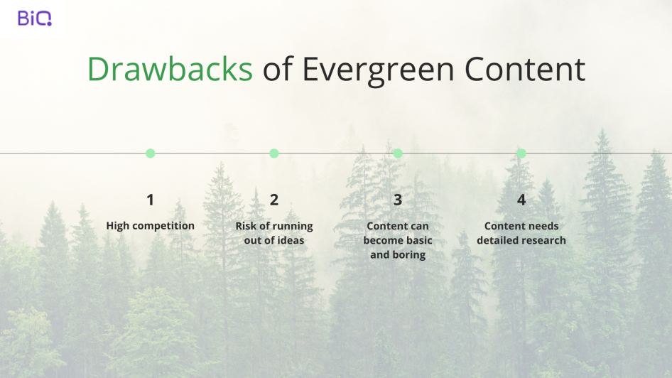 An image with description of drawbacks of evergreen content