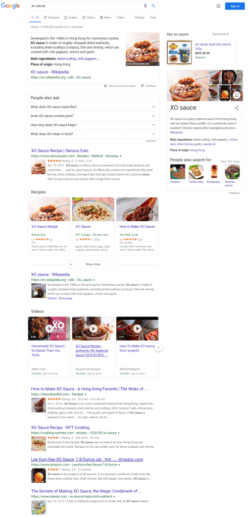 Google Search Result for XO Sauce