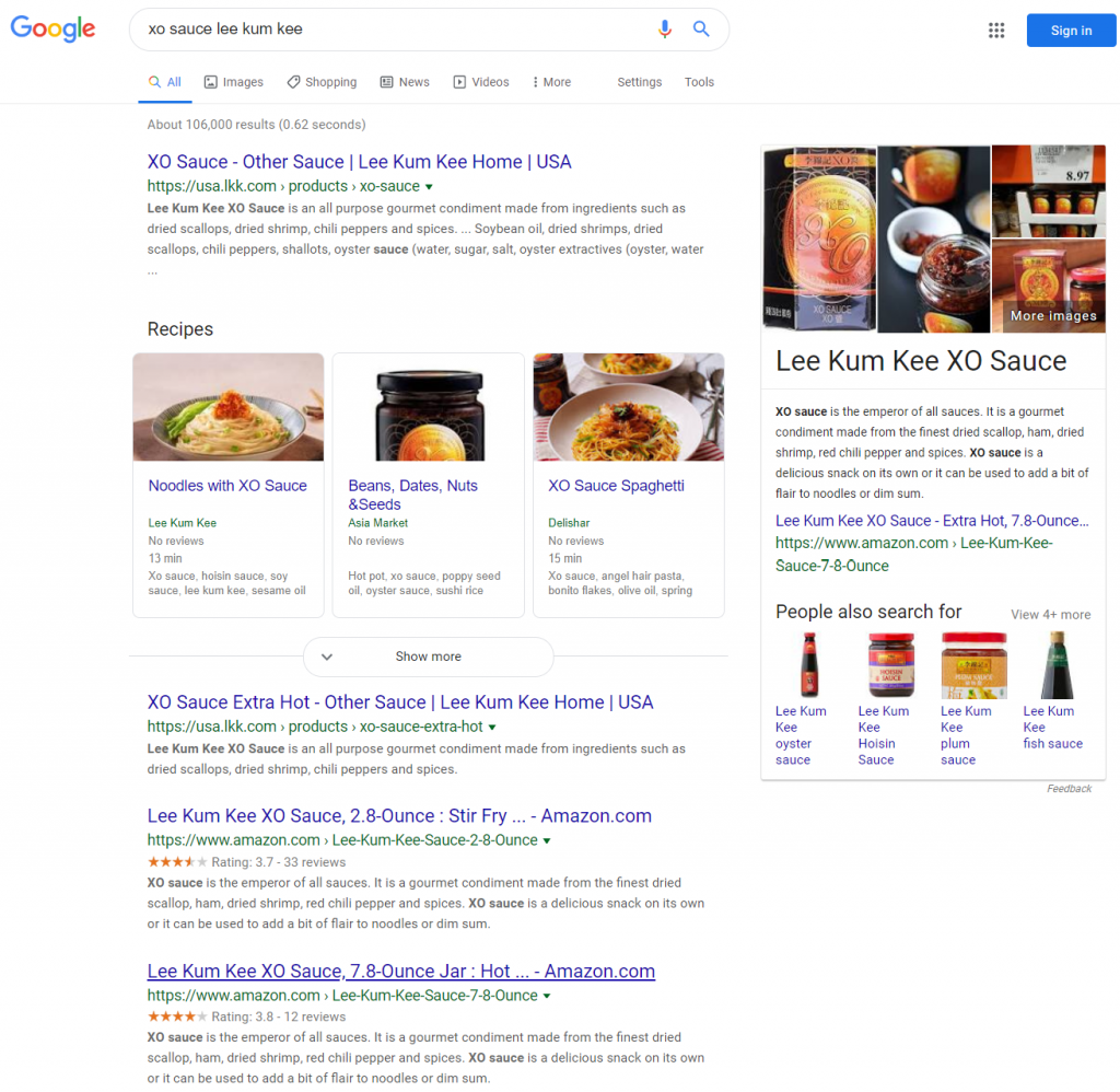 Google Search Result for XO Sauce Lee Kum Kee