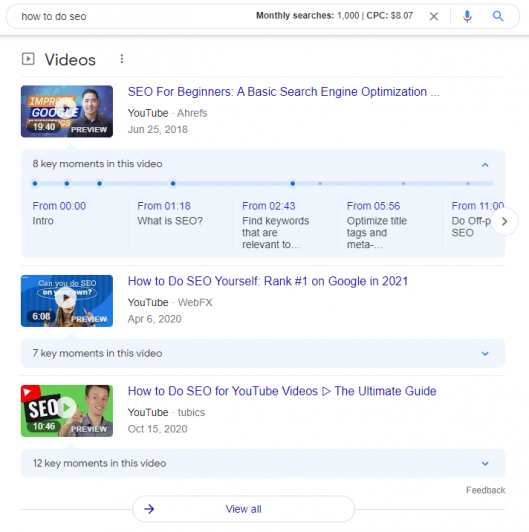 Youtube videos on first page of Google