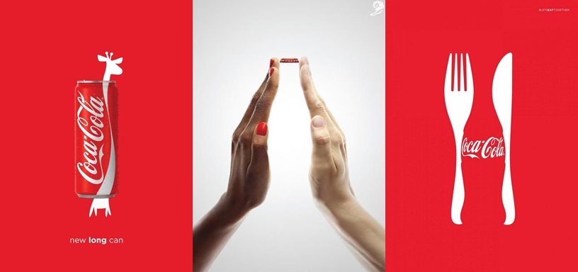 Example of Coke that uses visuals to attract attention of their target