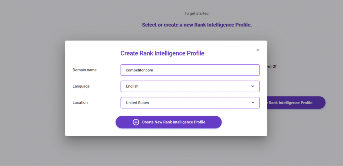 biq seo suite rank intelligence create competitor profile for competitive analysis