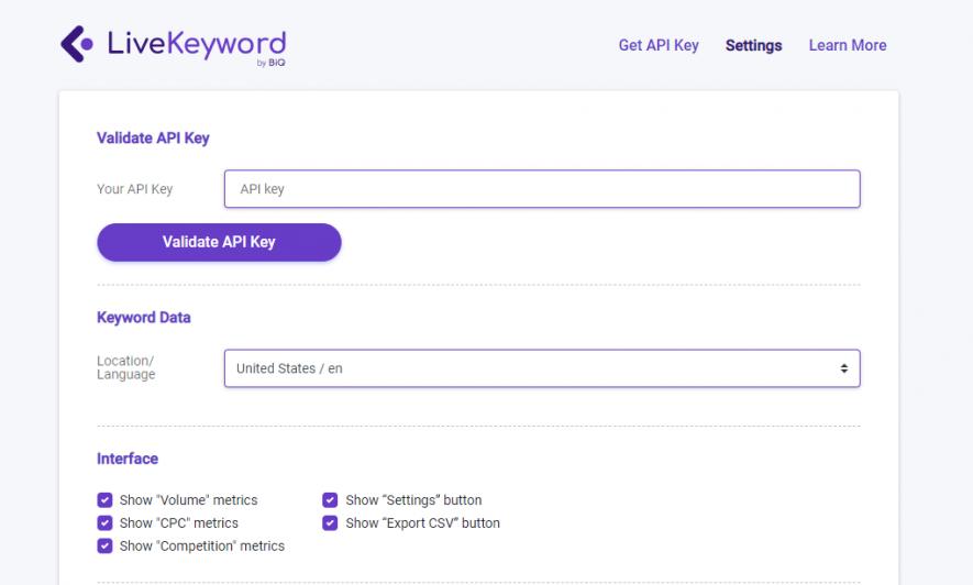BiQ SEO Suite provides free LiveKeyword extension