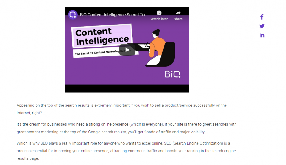 B2B video marketing strategies: BiQ repurposed their blogs into videos
