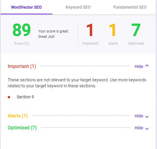 best free seo tool BiQ content intelligence word vector SEO