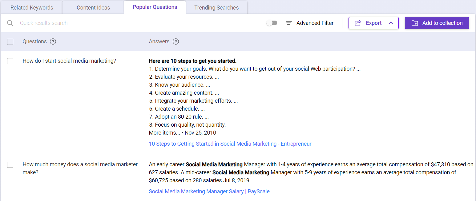 Content marketing tips : Use Keyword Intelligence to find popular questions
