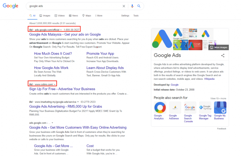 Google Ads on SERP
