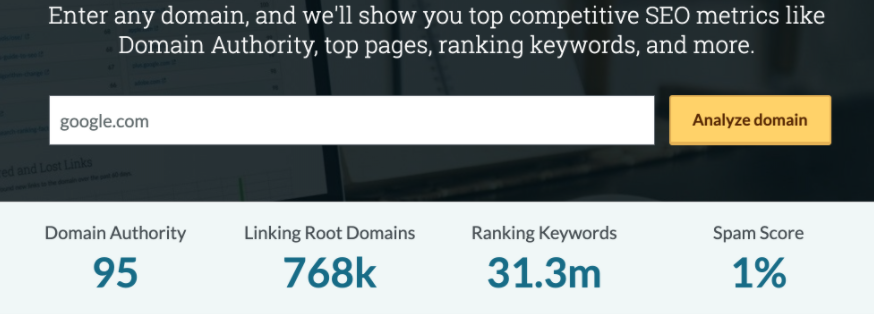 domain authority moz