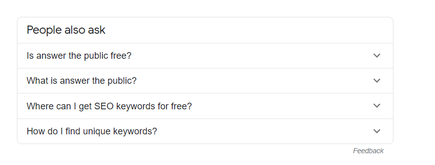 Answer the Public alternative keyword - People also ask result