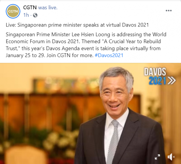 An example of CGTN live video post