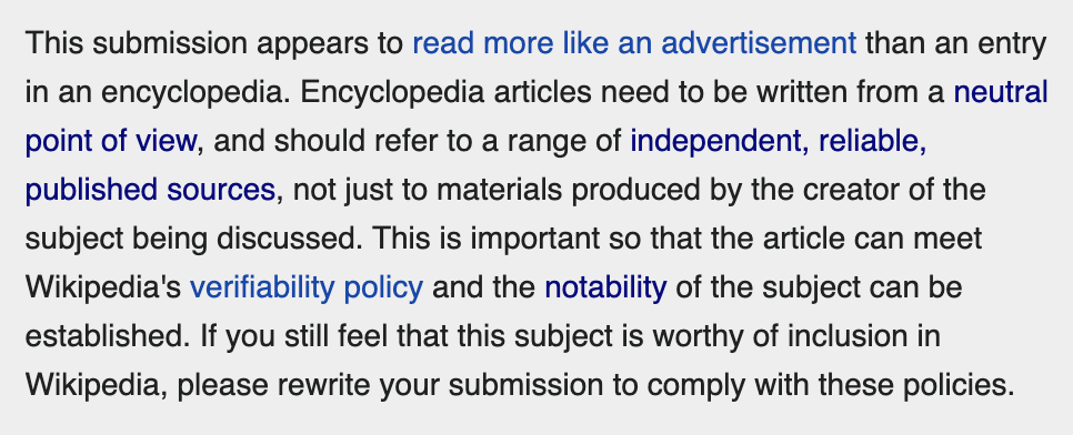 wikipedia article advertisement rejection