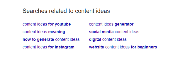 related searches for content ideas