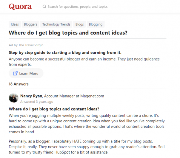 sourcing quora for content ideas