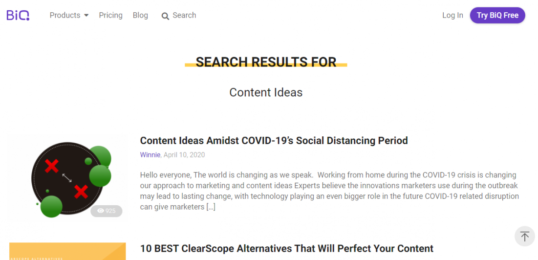 internal website search for new content ideas