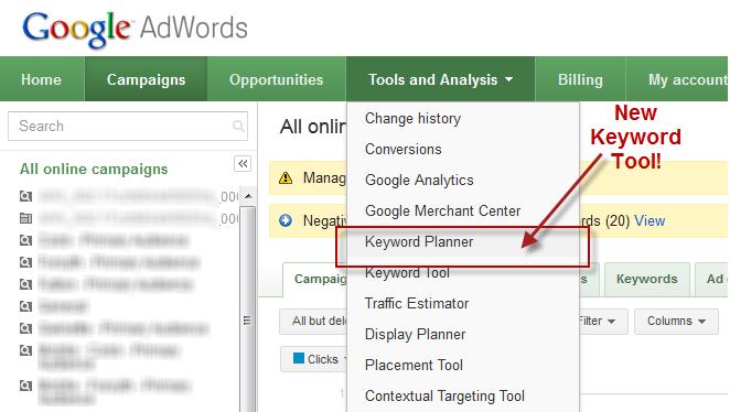 google keyword planner in adwords