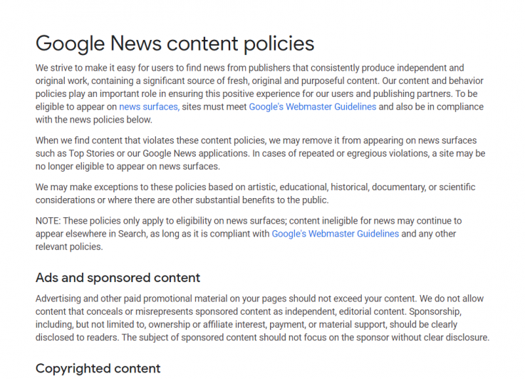 Google's guidelines set by Google news weebsites