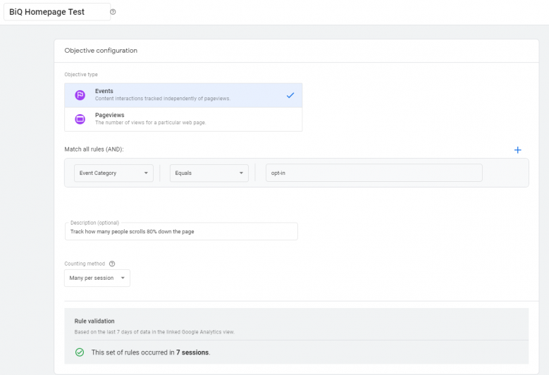 Creating objectives for Google AB Testing