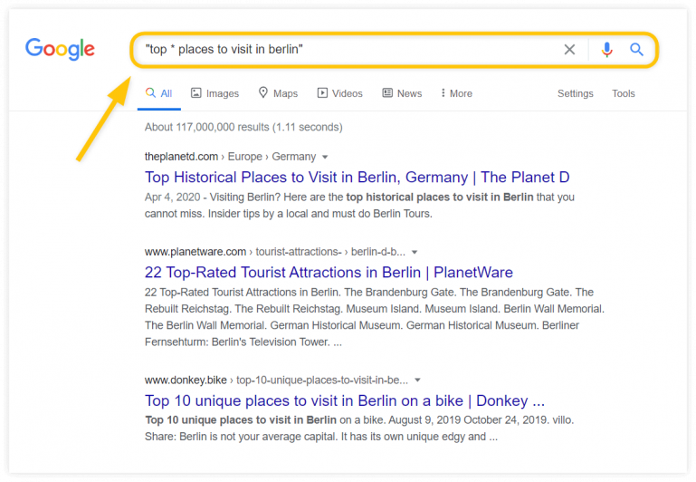 advanced Google search techniques - *