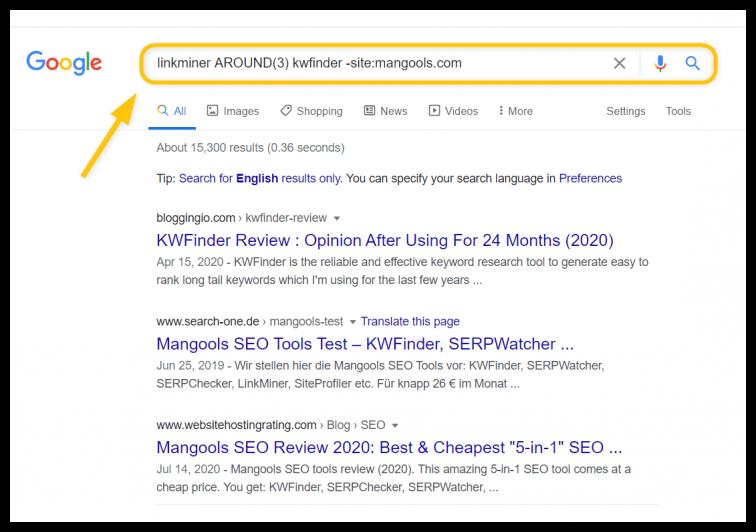 Description: around search operator
