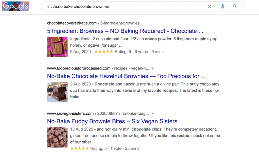 Description: Google search results for intitle: no bake chocolate brownies