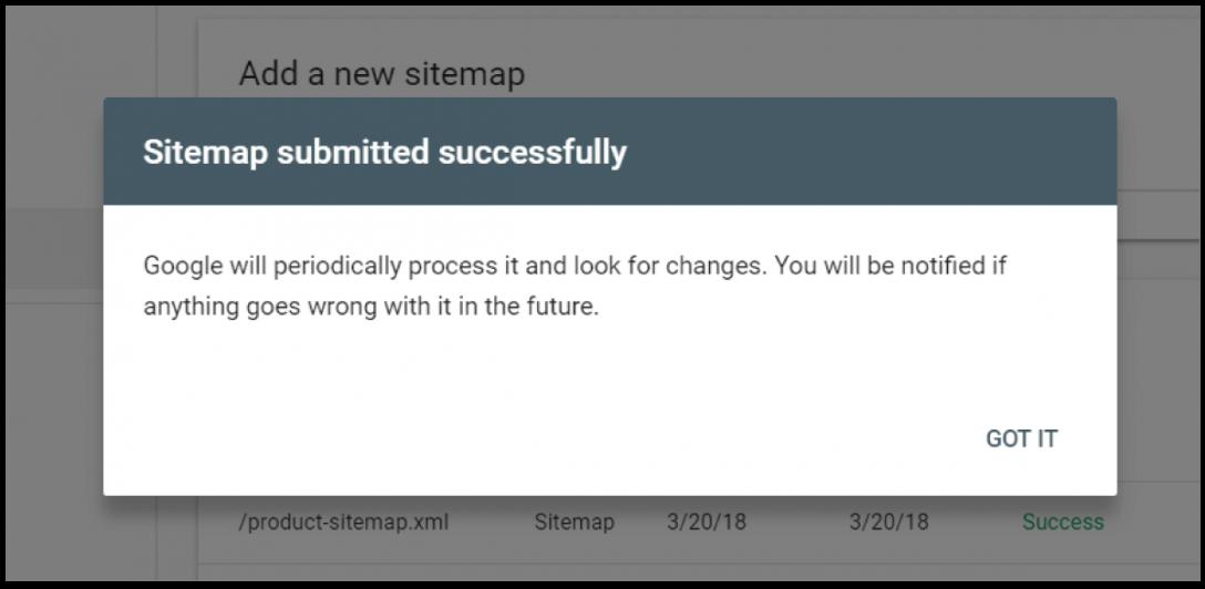Description: Submit sitemap success
