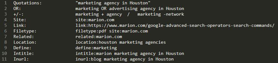 Description: Google search operators for SEO