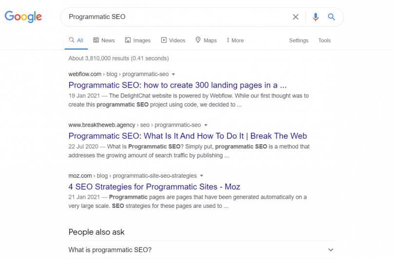 Search done for the phrase programmatic SEO on Google
