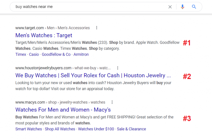 """Google Search Ranking for keyword """"buy watches near me"""""""