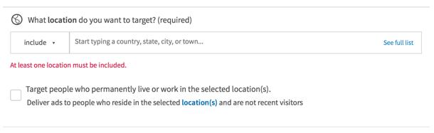 linkedin advertising - location
