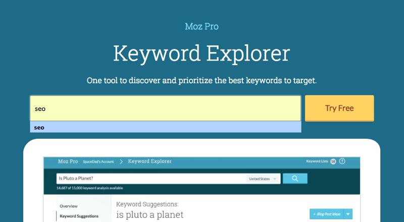 Moz Keyword Explorer - best keyword research tools in 2021