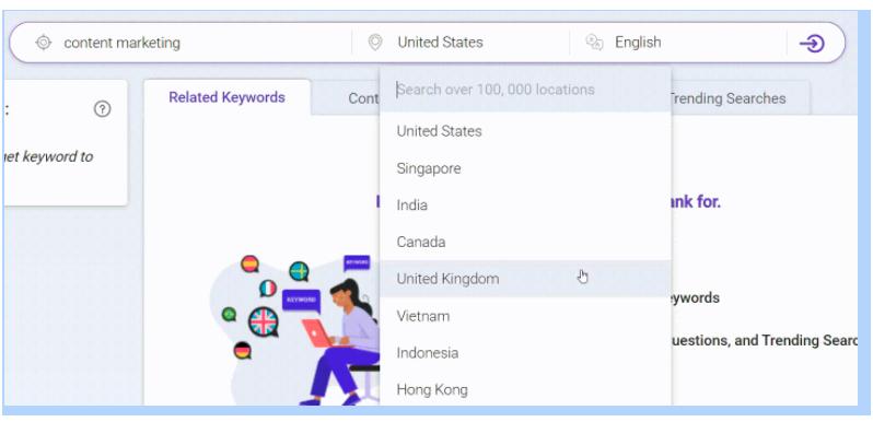 BiQ Keyword Intelligence - Geographical location and language