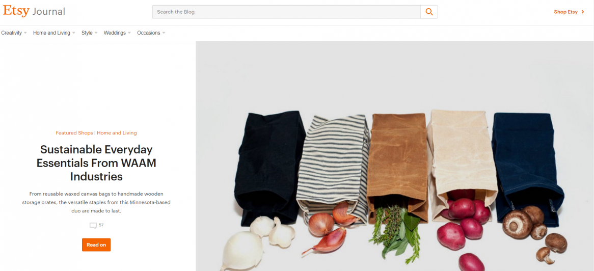 Content hub example 2 - etsy journal