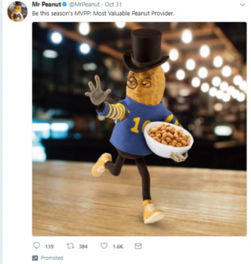 twitter for SEO tips use images example mr Peanut