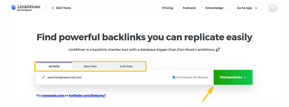 LinkMiner screenshot homepage search