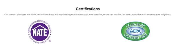 example of certifications