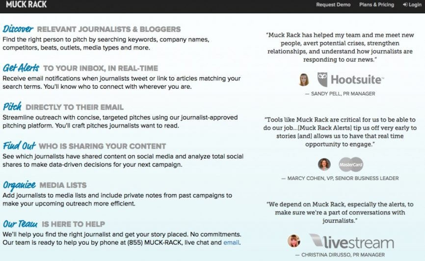 Muck Rack testimonials as social proof.
