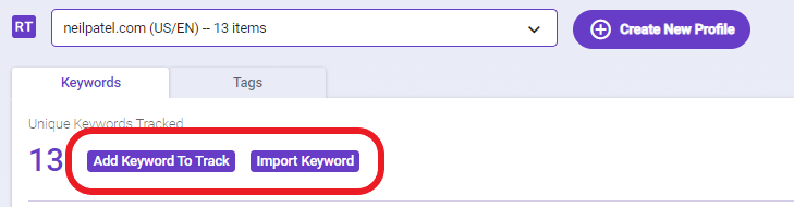 In the overview of Rank Tracking, the add keyword to track CTA button allows users to add more keywords to be tracked.