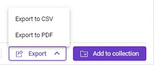Export saved keywords to CSV or PDF