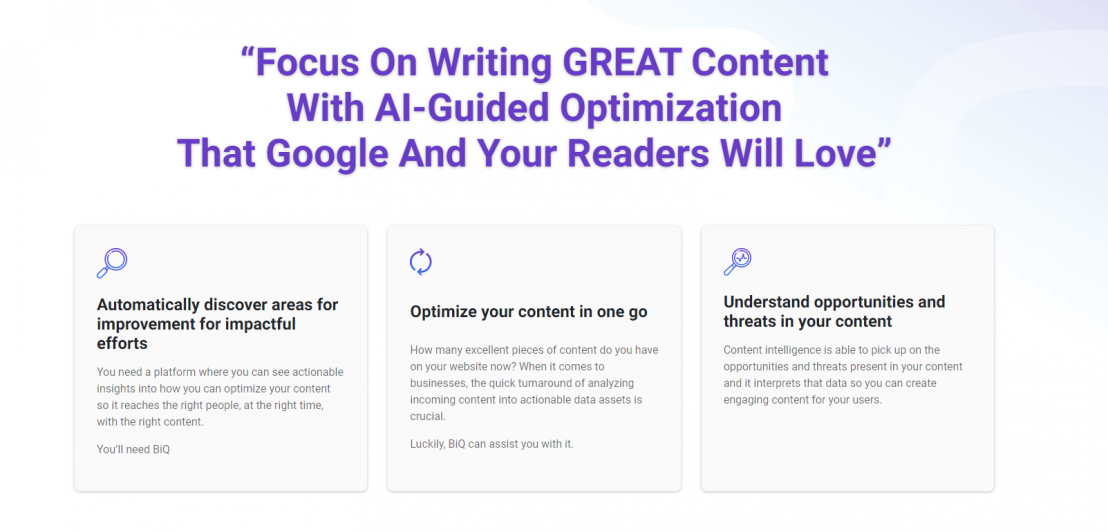 First Grammarly Alternatives: BiQ Content Intelligence