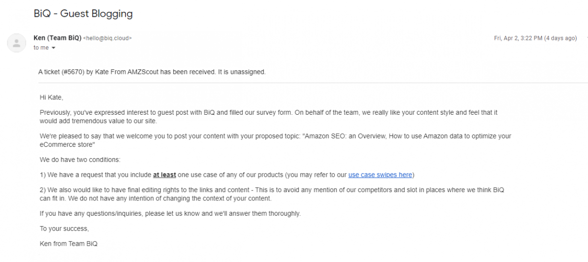 Guest blogging email example by BiQ