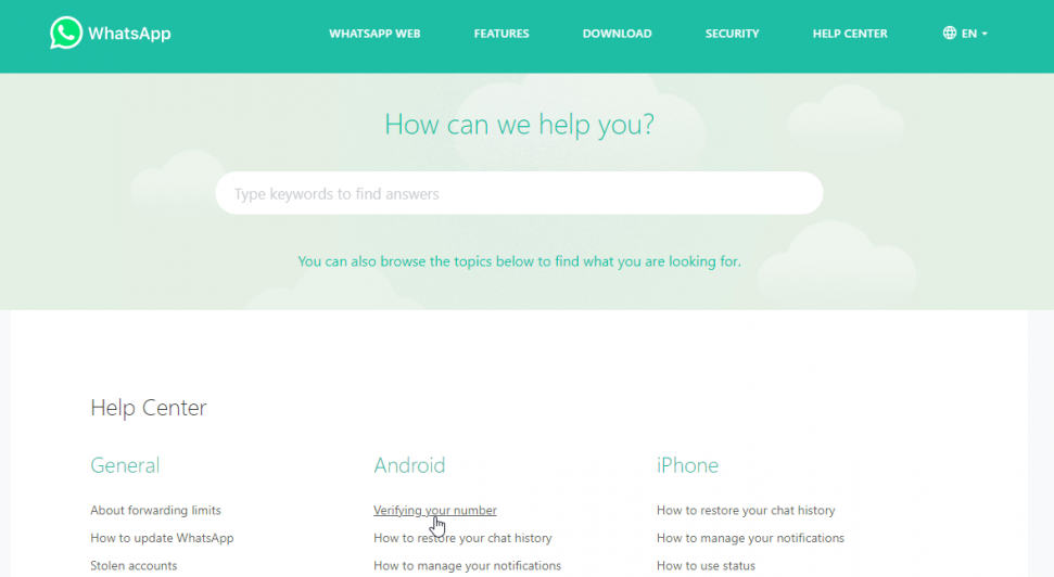 Whatsapp's Help Center FAQ section