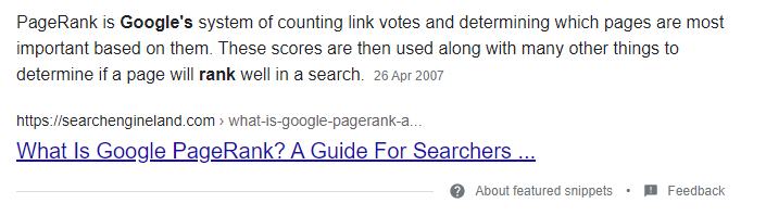 An example of the paragraph featured snippet