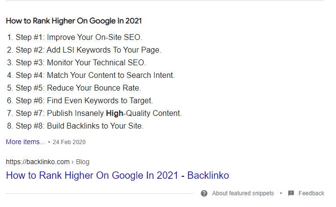 Example of the list featured snippet