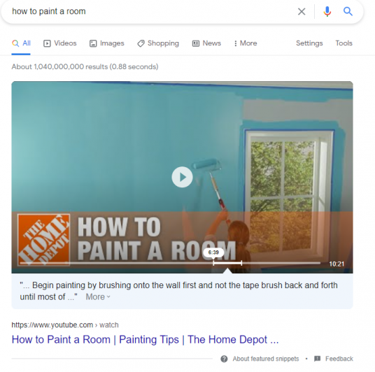example of the video featured snippet