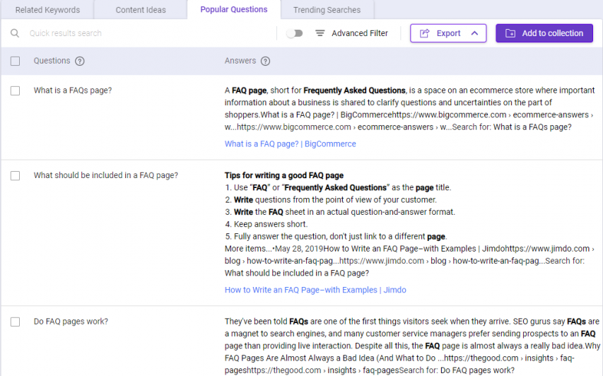 Know what questions to ask by referring to BiQ Keyword Intelligence Popular tab