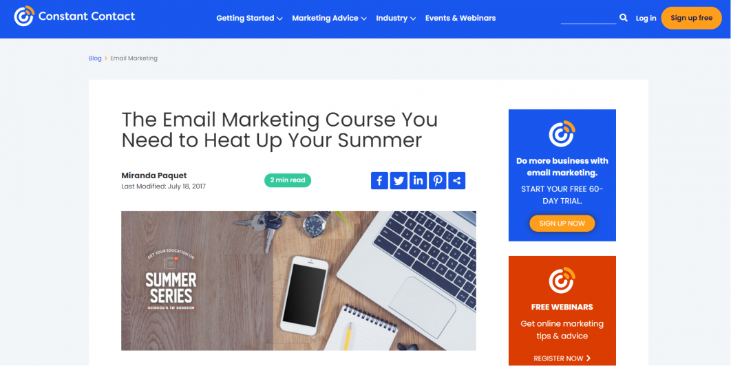 Free digital marketing course - Summer Series Email Marketing Course